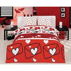 EponjHome Lovestory Çift Kişilik Nevresim Takımı Kırmızı