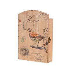 Woody Kuş Desenli Ahşap Anahtarlık - 1
