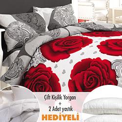 Walls Gül Nevresim Seti (Yorgan ve 2 Yastık Hediyeli) - Kırmızı