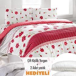 Walls Mira Nevresim Seti (Yorgan ve 2 Yastık Hediyeli) - Kırmızı