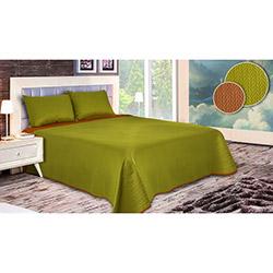 Walls Lux Balık Sırtı Çift Kişilik Yatak Örtüsü Takımı (Battal Boy) - Yeşil/Turuncu