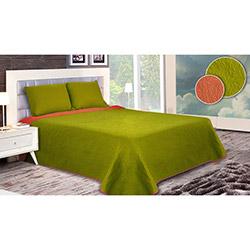 Walls Lux Çiçek Çift Kişilik Yatak Örtüsü Takımı (Battal Boy) - Yeşil/Turuncu