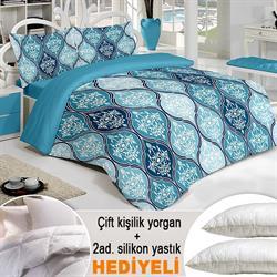 Walls Home Zara Pamuklu Çift Kişilik Nevresim Seti (Yorgan ve 2 Adet Bambu Yastık Hediyeli) - Turkuaz
