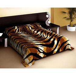 Dormina Zebra Lüks Desenli Çift Kişilik Battaniye - Kahve