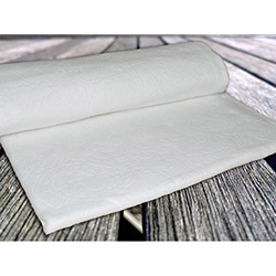 İpek Akasya Baskı Desen Polar Battaniye - Ekru