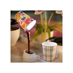 Patrix Dökülen Kahve Görünümlü Masa Lambası