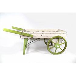 DesenHome Ahşap El Arabası - Yeşil