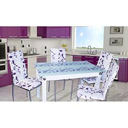 Defne Yemek Masası Takımı - Mor Çiçekli