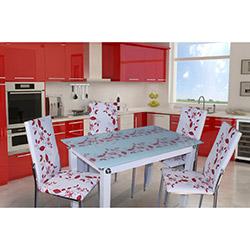 Defne Yemek Masası Takımı - Kırmızı Çiçekli
