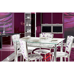 İzmir Yemek Masası Takımı - Lila Çiçekli