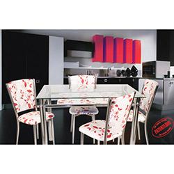 İzmir Yemek Masası Takımı - Kırmızı Çiçekli