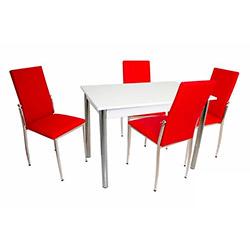 Bey Akasya Gözde Mutfak Masa Takımı - Kırmızı / Beyaz