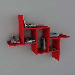 Dekorister Step Duvar Rafı - Kırmızı
