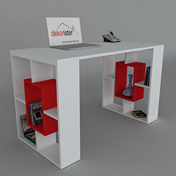 Dekorister Valancia Çalışma Masası - Beyaz /  Kırmızı