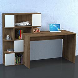 Dekorister Totem Çalışma Masası - Beyaz / Ceviz