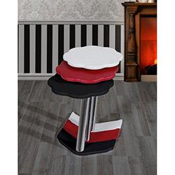 Bute Papatya Zigon Sehpa - Beyaz / Siyah / Kırmızı