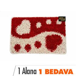 Era Ben ve Sen Banyo Halısı (Kırmızı/Beyaz) - 40x60 cm (1 Alana 1 Bedava)