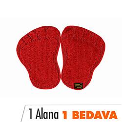 Era Panda Ayağı Banyo Halısı (Kırmızı) - 48x66 cm (1 Alana 1 Bedava)