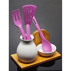 İmaj Bambu Standlı Porselen Kaşıklık Seti - Mor