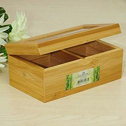 İmaj 2 Bölmeli Bambu Çay Saklama Kutusu (14x8 cm) - Asorti