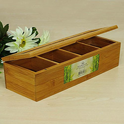 İmaj Bambu 4 Bölmeli Çay Saklama Kutusu - 27x9 cm