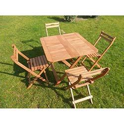 Modermo Ahşap Katlanır Masa (109) + 4 Adet Ahşap Katlanır Sandalye (110)