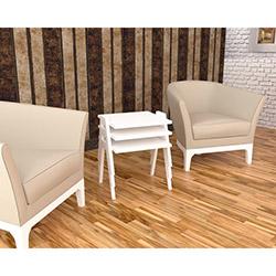 Sepia Como 3'lü Zigon Sehpa - Beyaz