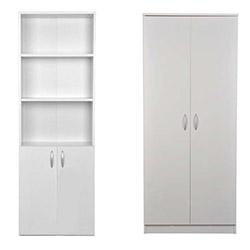 Comfy Home 2 Kapaklı Gardırop ve 3 Raflı Kitaplık - Beyaz