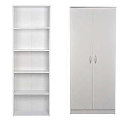 Comfy Home 2 Kapaklı Gardırop ve 5 Raflı Kitaplık - Beyaz