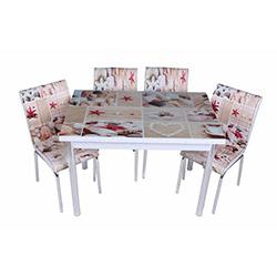 Kristal TK-39 Yemek Masası Takımı (6 Sandalyeli) - Kabuk Desenli