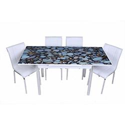 Kristal TK-43 Yemek Masası Takımı (4 Sandalyeli) - Çakıl Taşı