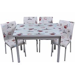 Kristal TK-44/4 Yemek Masası Takımı (4 Sandalyeli) - Eski İstanbul