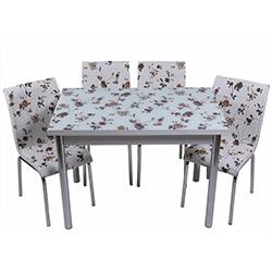 Kristal TK-47 Yemek Masası Takımı (6 Sandalyeli) - Kahve Çiçekli