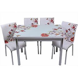 Kristal TK-48 Yemek Masası Takımı (4 Sandalyeli) - Kelebek Desenli