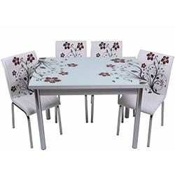 Kristal TK-49 Yemek Masası Takımı (4 Sandalyeli) - Kahve Dallı