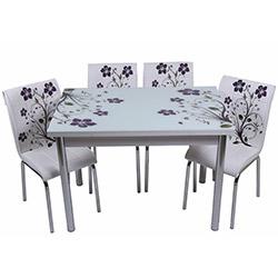 Kristal TK-51/4 Yemek Masası Takımı (4 Sandalyeli) - Lila Dallı