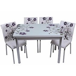 Kristal TK-51 Yemek Masası Takımı (6 Sandalyeli) - Lila