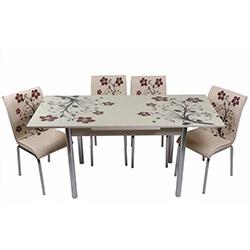 Kristal TK-52/6 Yemek Masası Takımı (6 Sandalyeli) - Krem / Kahve Dallı