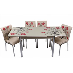 Kristal TK-53 Yemek Masası Takımı (6 Sandalyeli) - Kırmızı