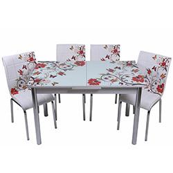 Kristal TK-57 Yemek Masası Takımı (4 Sandalyeli) - Kelebek Desenli