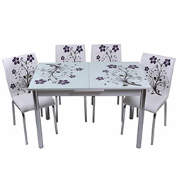 Kristal TK-60 Yemek Masası Takımı (4 Sandalyeli) - Lila