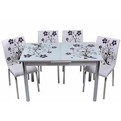 Kristal TK-60/6 Yemek Masası Takımı (6 Sandalyeli) - Lila Dallı