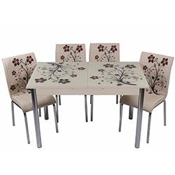Kristal TK-61/6 Yemek Masası Takımı (6 Sandalyeli) - Kahve Dallı