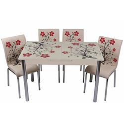 Kristal TK-62 Yemek Masası Takımı (4 Sandalyeli) - Kırmızı