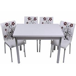 Kristal TK-104 Yemek Masası Takımı (4 Sandalyeli) - Kahve Dallı