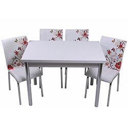 Kristal TK-106 Yemek Masası Takımı (4 Sandalyeli) - Kelebek Desenli