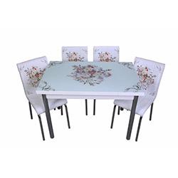 Kristal Çicek Sepeti Camlı Yemek Masası Takımı (4 Sandalyeli) - Beyaz