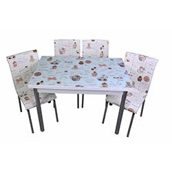 Kristal Kahve Fincan Camlı Sandalye Yemek Masası Takımı (4 Sandalyeli) - Beyaz