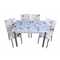 Kristal Mor Fincan Camlı Yemek Masası Takımı (4 Sandalyeli) - Beyaz