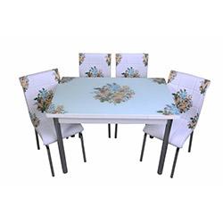 Kristal Sarı Çiçek Yemek Camlı Masası Takımı (4 Sandalyeli) - Beyaz